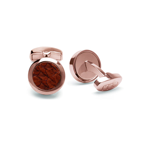 Atlantic Salmon Leather Cufflinks Rose Gold-Tone ▪ Cognac