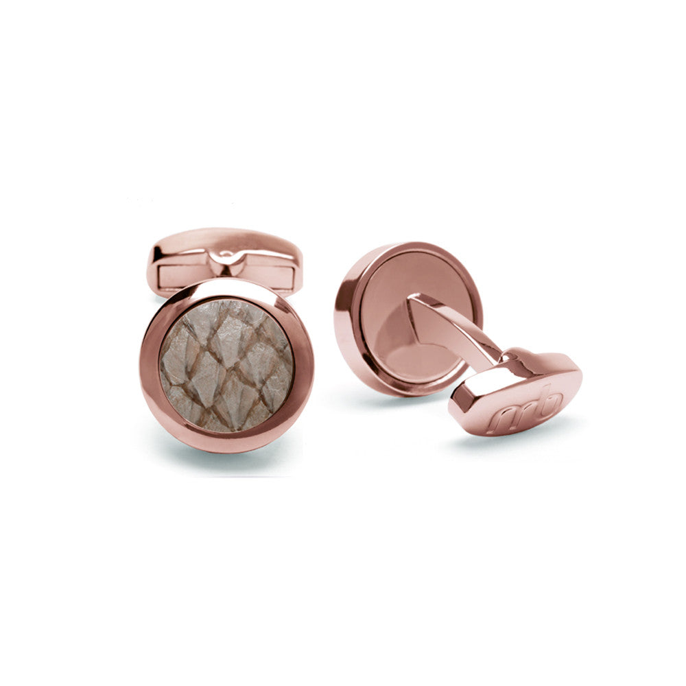 Atlantic Salmon Leather Cufflinks Rose Gold-Tone ▪ Beige - Marlín Birna Ltd.