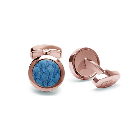 Atlantic Salmon Leather Cufflinks Rose Gold-Tone ▪ Light Blue