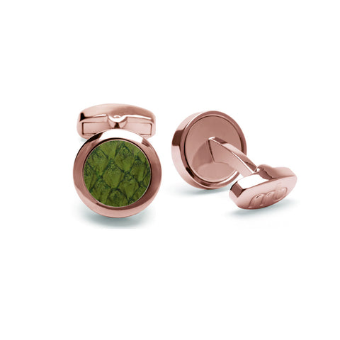 Atlantic Salmon Leather Cufflinks Rose Gold-Tone ▪ Olive Green - Marlín Birna Ltd.