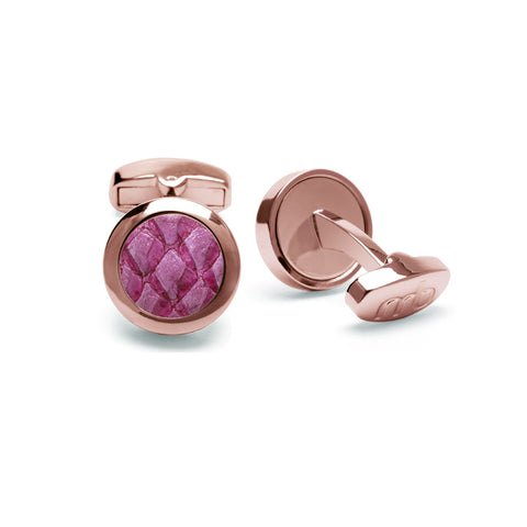 Atlantic Salmon Leather Cufflinks Rose Gold-Tone ▪ Magenta