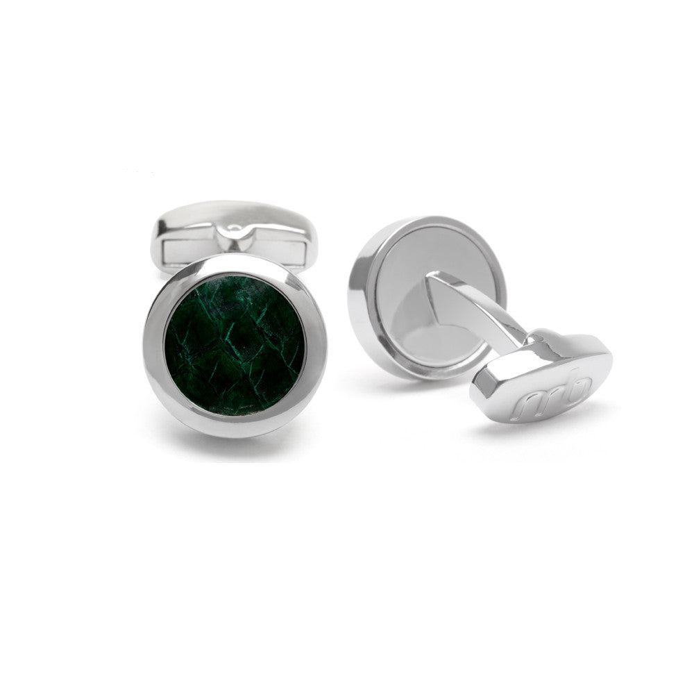Atlantic Salmon Leather Cufflinks Silver-Tone ▪ Dark Green - Marlín Birna Ltd.