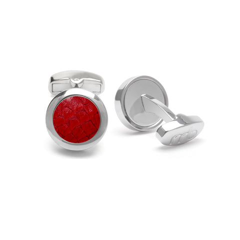 Atlantic Salmon Leather Cufflinks Silver-Tone ▪ Red