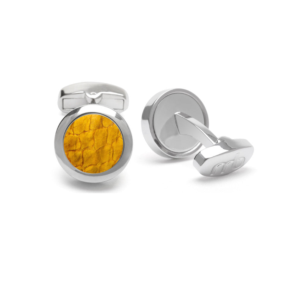 Atlantic Salmon Leather Cufflinks Silver-Tone ▪ Yellow - Marlín Birna Ltd.