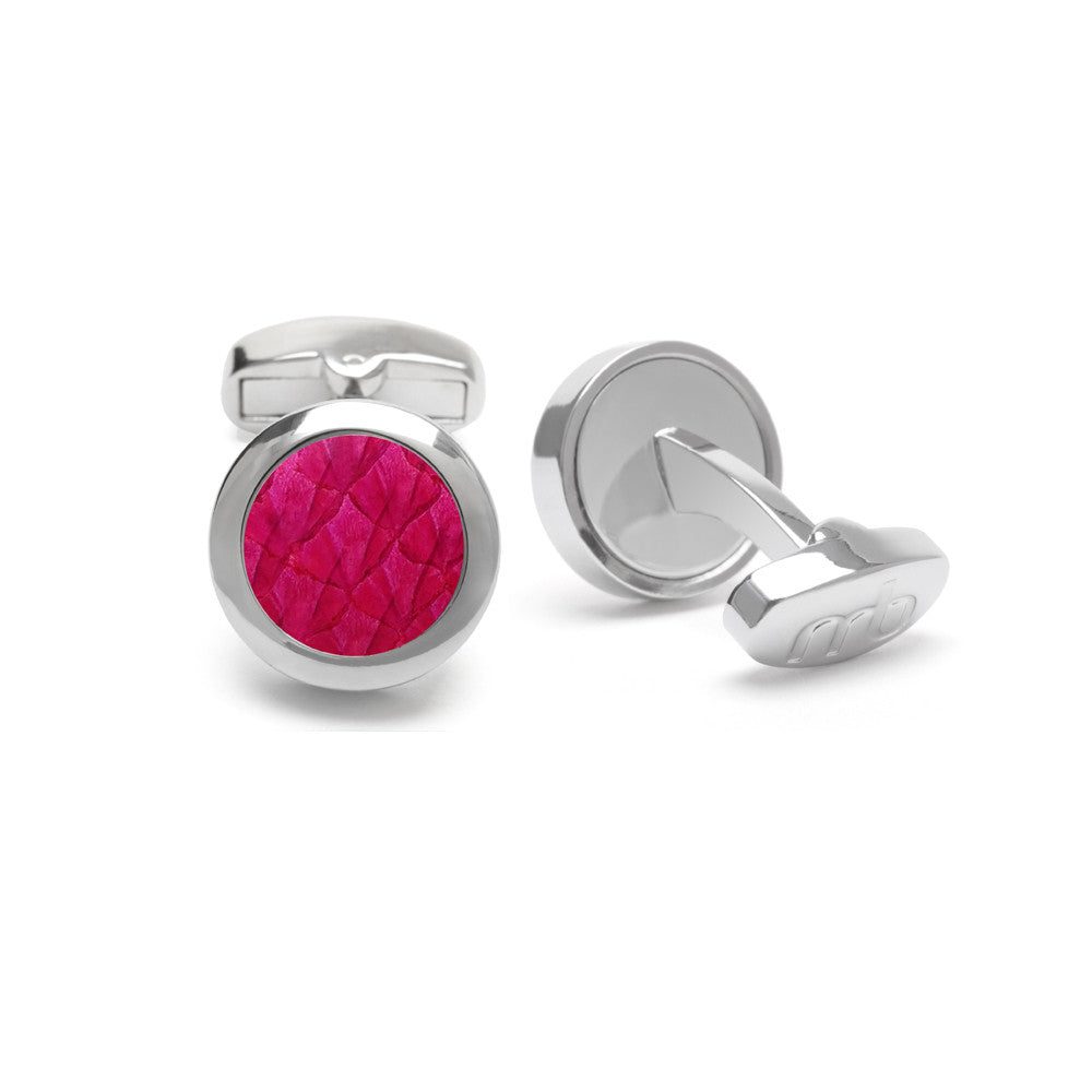 Atlantic Salmon Leather Cufflinks Silver-Tone ▪ Fuchsia - Marlín Birna Ltd.