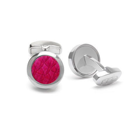 Atlantic Salmon Leather Cufflinks Silver-Tone ▪ Fuchsia