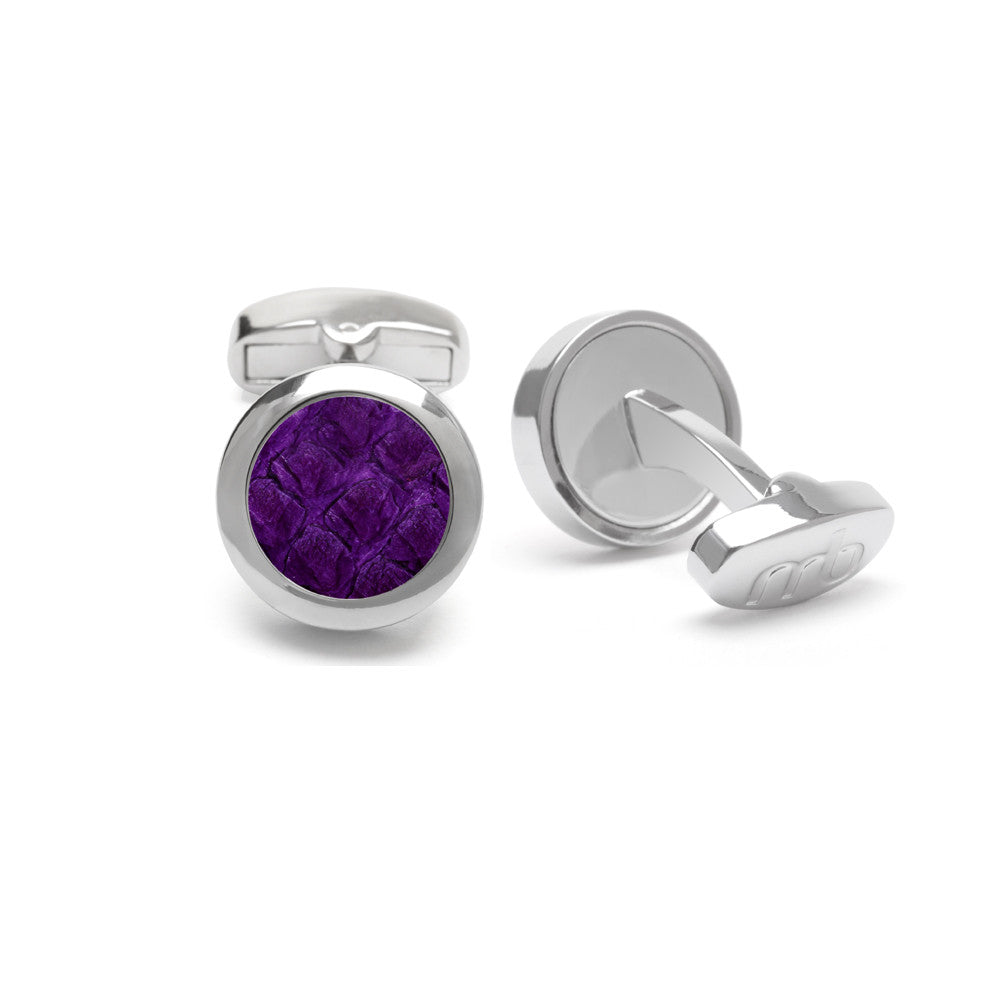 Atlantic Salmon Leather Cufflinks Silver-Tone ▪ Purple - Marlín Birna Ltd.