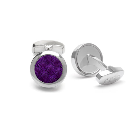Atlantic Salmon Leather Cufflinks Silver-Tone ▪ Purple