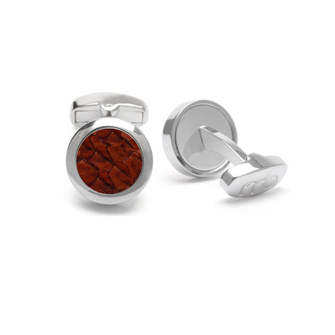 Atlantic Salmon Leather Cufflinks Silver-Tone ▪ Cognac - Marlín Birna Ltd.