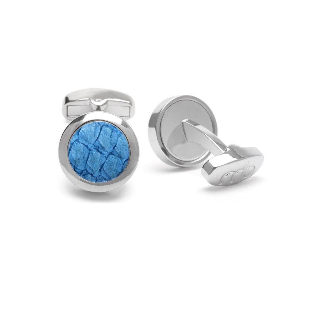 Atlantic Salmon Leather Cufflinks Silver-Tone ▪ Light Blue - Marlín Birna Ltd.