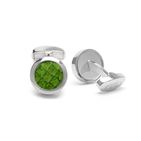 Atlantic Salmon Leather Cufflinks Silver-Tone ▪  Olive Green