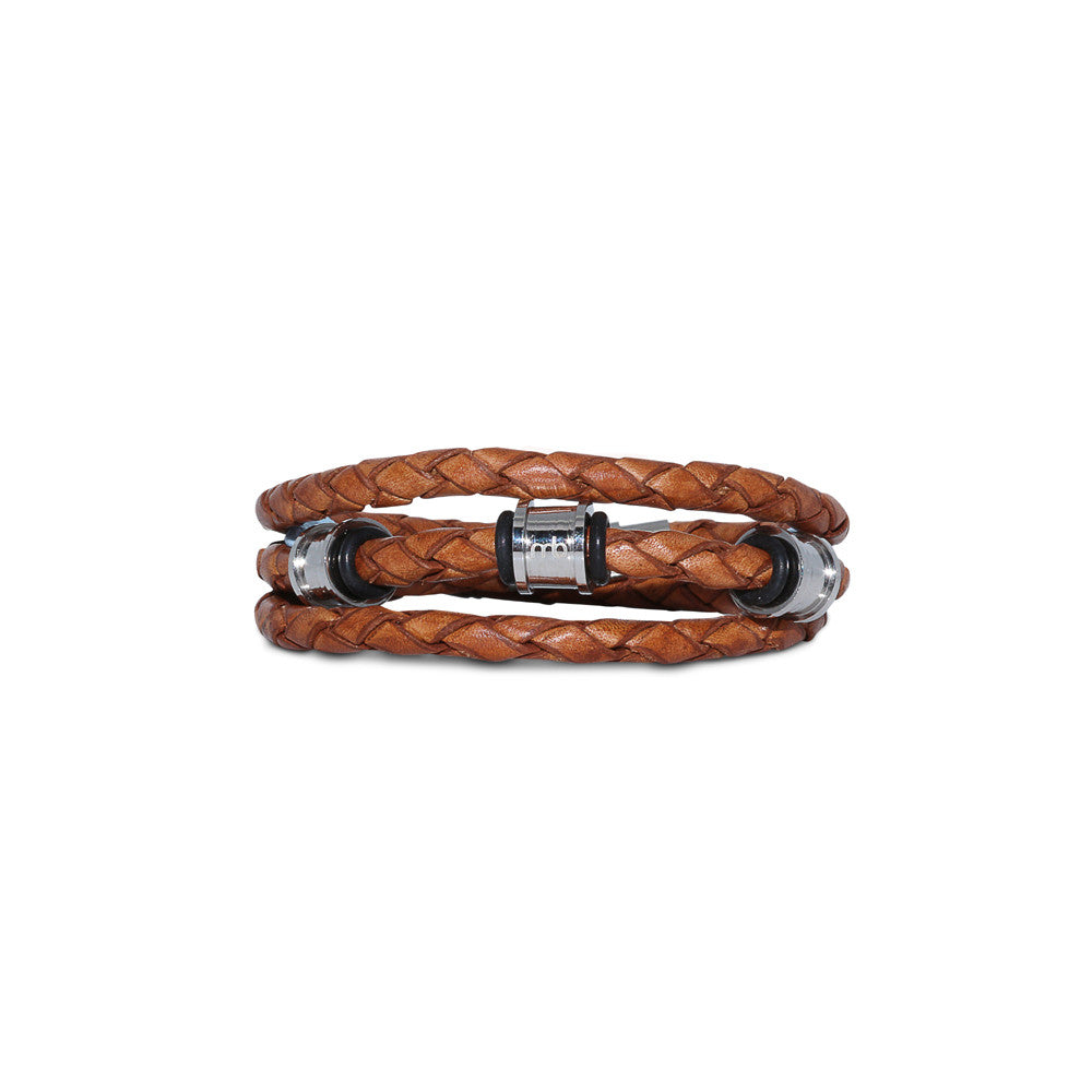 JUNIOR Braided Leather Wrap Bracelet ▪ Cognac - Marlín Birna Ltd.
