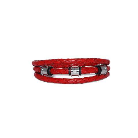 JUNIOR Braided Leather Wrap Bracelet ▪ Red - Marlín Birna Ltd.