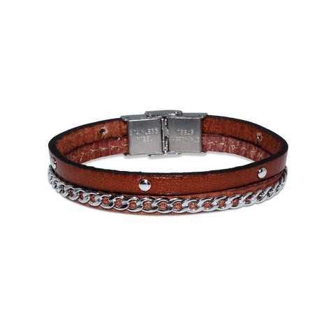 JUNIOR Leather Bracelet w/Chain and Studs ▪ Cognac - Marlín Birna Ltd.