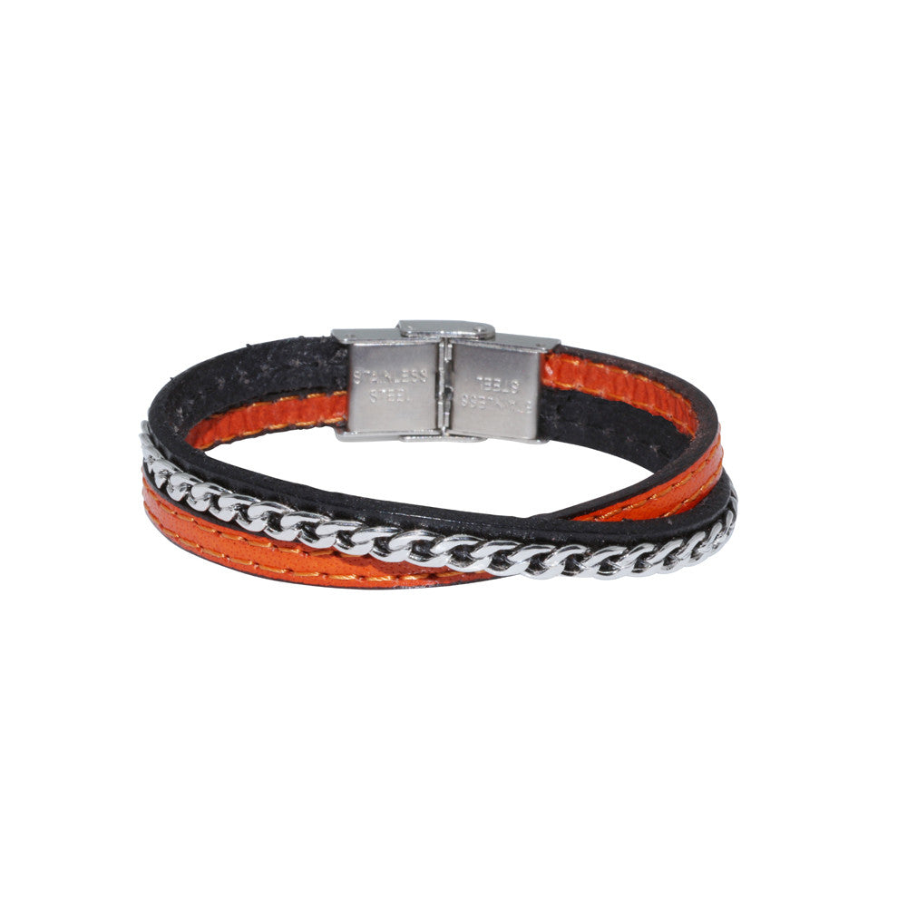 JUNIOR Genuine Leather Bracelet w/Chain ▪ Orange - Marlín Birna Ltd.
