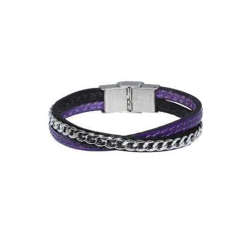 JUNIOR Genuine Leather Bracelet w/Chain ▪ Purple - Marlín Birna Ltd.