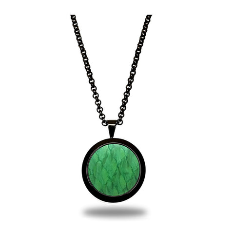 Atlantic Salmon Leather Pendant Black-Tone ▪ Light Green