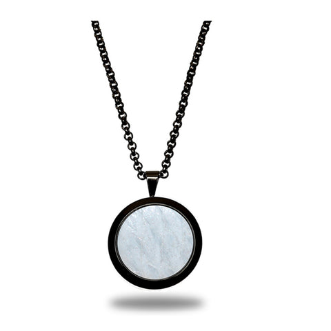 Atlantic Salmon Leather Pendant Black-Tone ▪ White