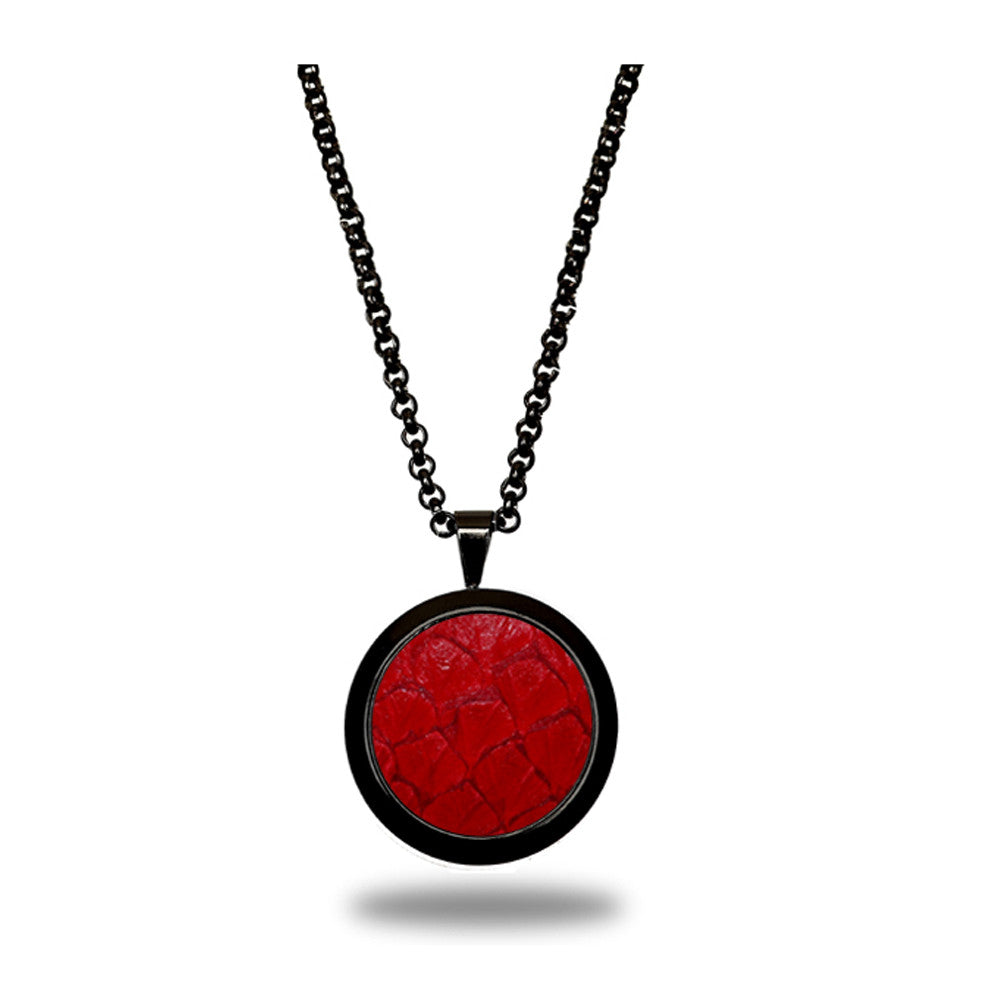 Atlantic Salmon Leather Pendant Black-Tone ▪ Red - Marlín Birna Ltd.