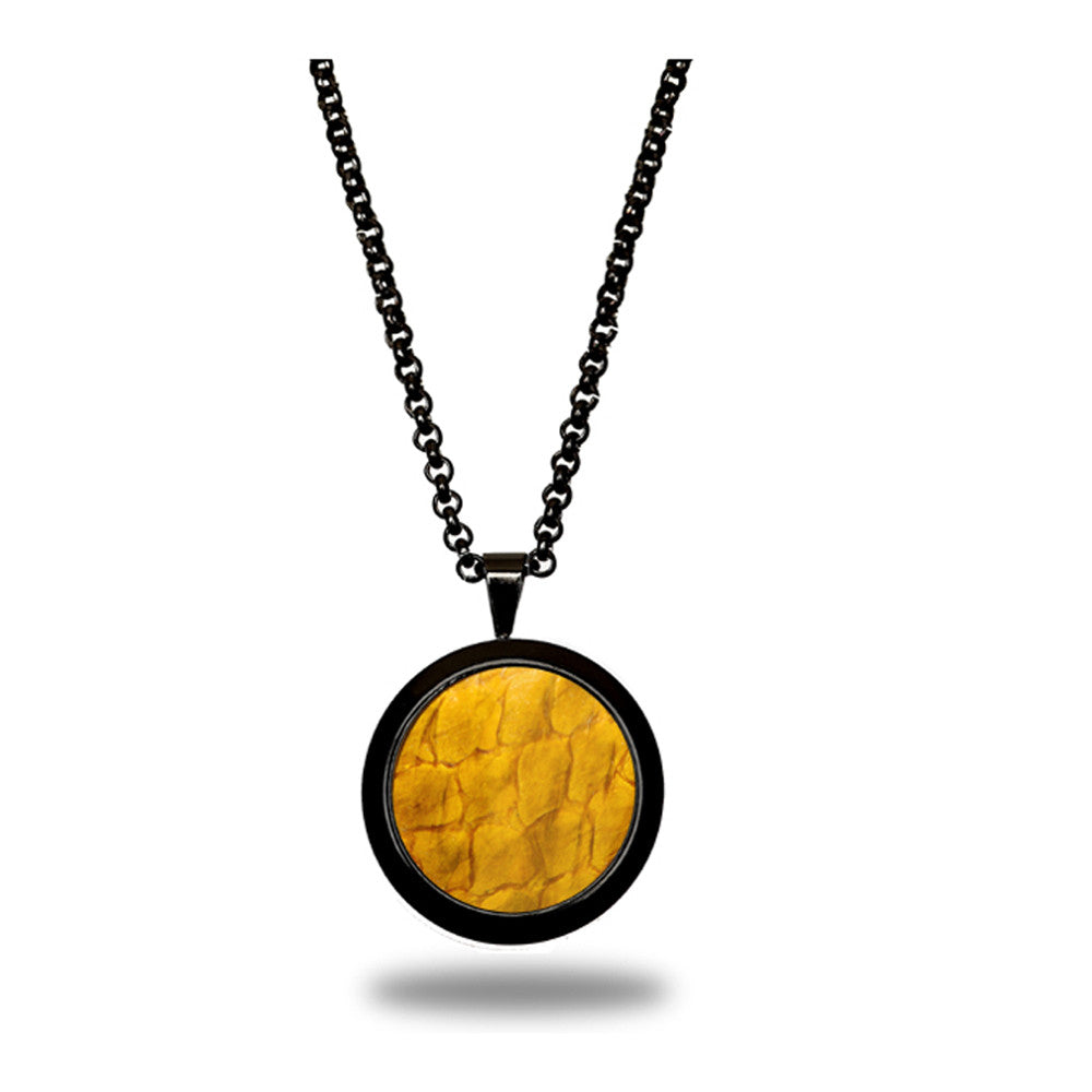 Atlantic Salmon Leather Pendant Black-Tone ▪ Yellow - Marlín Birna Ltd.