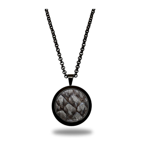 Atlantic Salmon Leather Pendant Black-Tone ▪ Grey