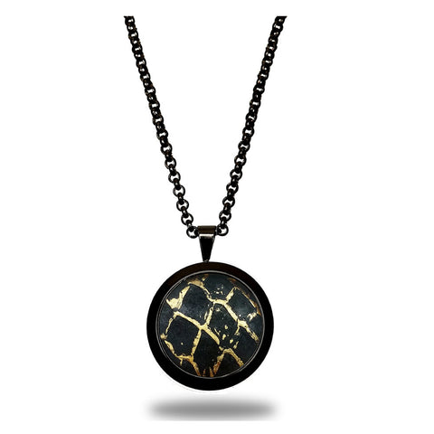 Atlantic Salmon Leather Pendant Black -Tone ▪ Black/Gold Metallic