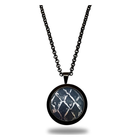 Atlantic Salmon Leather Pendant Black-Tone ▪ Black/Silver Metallic - Marlín Birna Ltd.