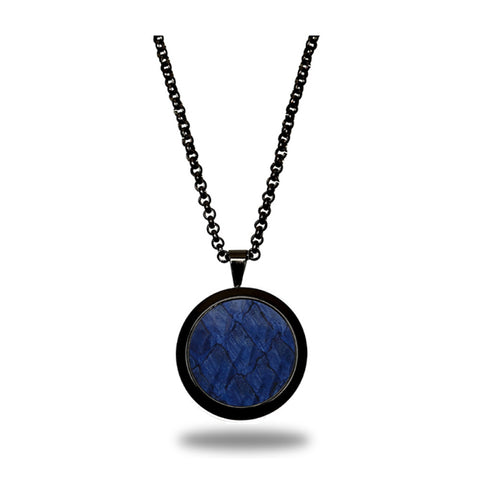 Atlantic Salmon Leather Pendant Black-Tone ▪ Dark Blue