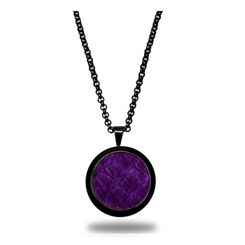 Atlantic Salmon Leather Pendant Black-Tone ▪ Purple