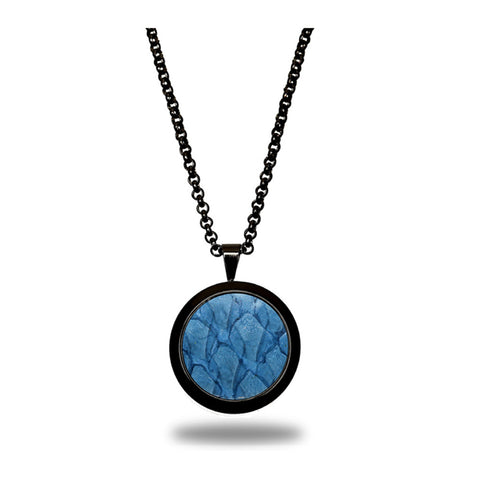 Atlantic Salmon Leather Pendant Black-Tone ▪ Light Blue