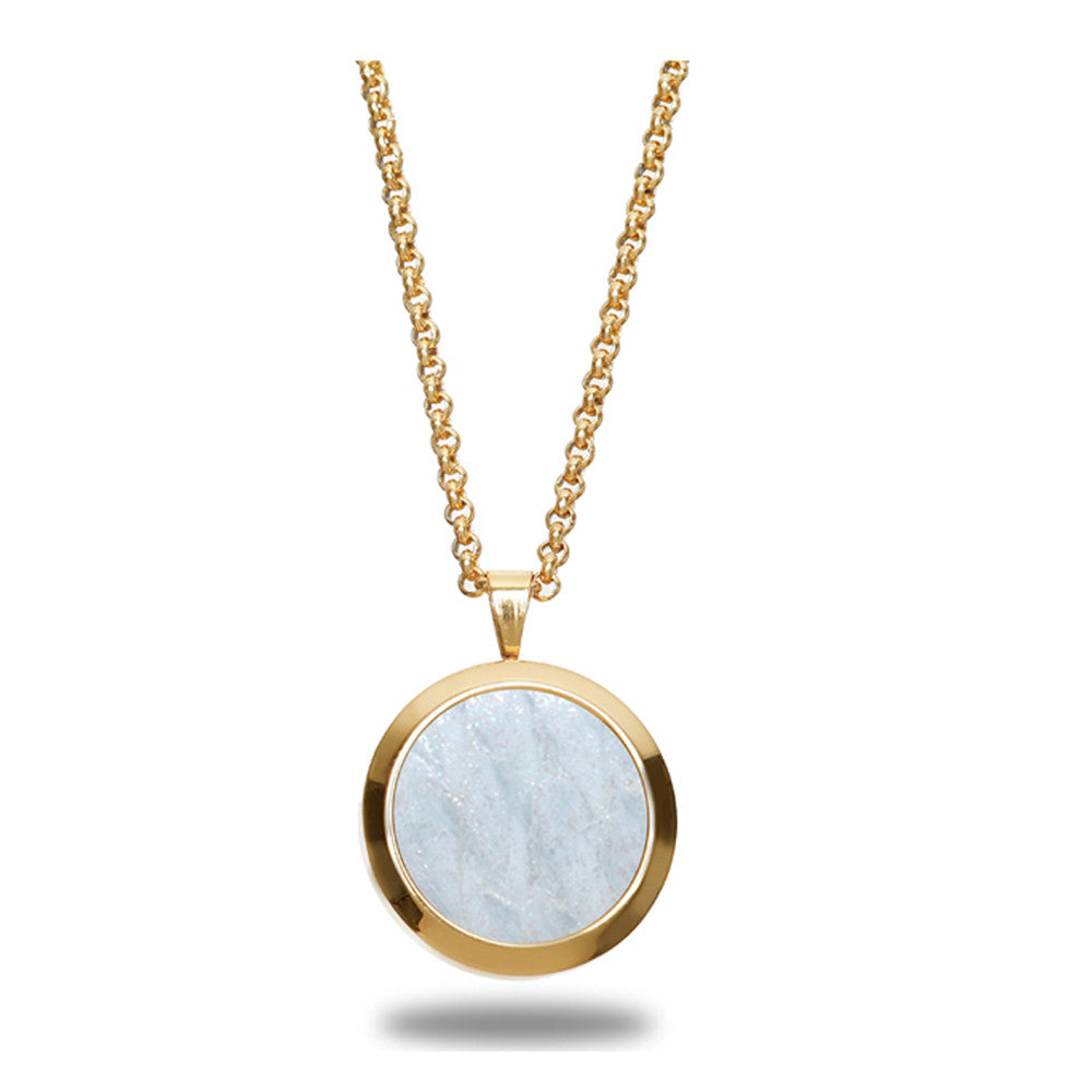 Atlantic Salmon Leather Pendant Gold-Tone ▪ White - Marlín Birna Ltd.