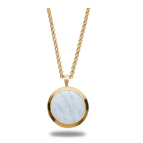Atlantic Salmon Leather Pendant Gold-Tone ▪ White