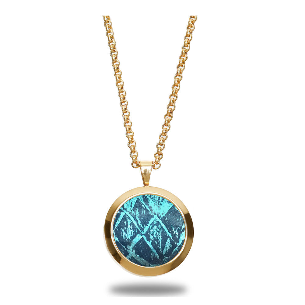 Atlantic Salmon Leather Pendant Gold-Tone ▪ Blue/Blue Metallic - Marlín Birna Ltd.