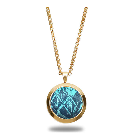 Atlantic Salmon Leather Pendant Gold-Tone ▪ Blue/Blue Metallic