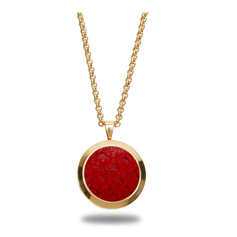 Atlantic Salmon Leather Pendant Gold-Tone ▪ Red