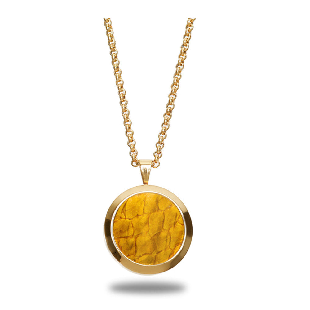 Atlantic Salmon Leather Pendant Gold-Tone ▪ Yellow - Marlín Birna Ltd.