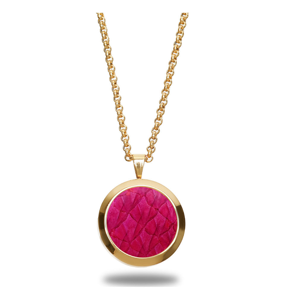 Atlantic Salmon Leather Pendant Gold-Tone ▪ Fuchsia - Marlín Birna Ltd.
