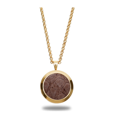 Atlantic Salmon Leather Pendant Gold-Tone ▪ Taupe