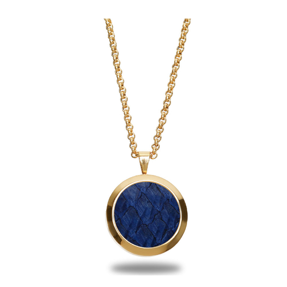 Atlantic Salmon Leather Pendant Gold-Tone ▪ Dark Blue - Marlín Birna Ltd.