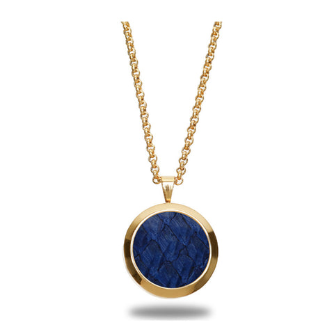 Atlantic Salmon Leather Pendant Gold-Tone ▪ Dark Blue
