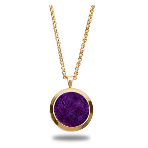 Atlantic Salmon Leather Pendant Gold-Tone ▪ Purple - Marlín Birna Ltd.