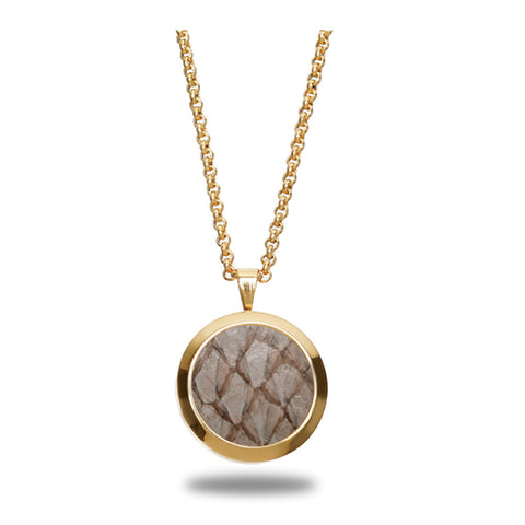 Atlantic Salmon Leather Pendant Gold-Tone ▪ Beige