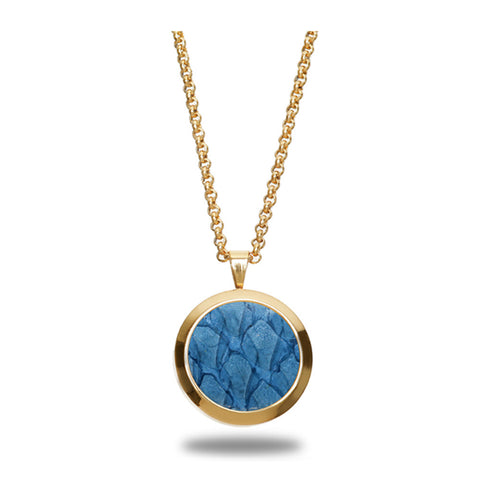 Atlantic Salmon Leather Pendant Gold-Tone ▪ Light Blue - Marlín Birna Ltd.