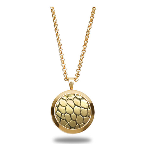 Genuine Ostrich Leather Pendant Gold-Tone ▪ Gold Metallic