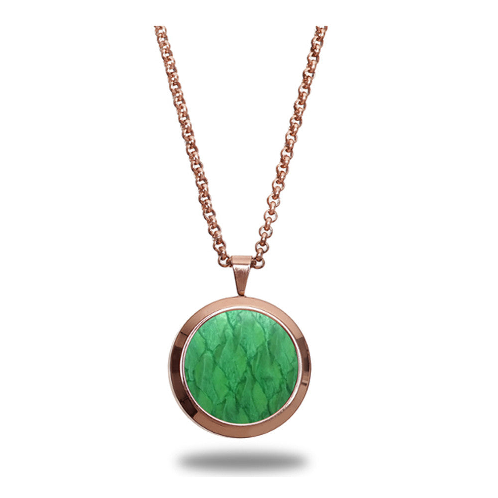 Atlantic Salmon Leather Pendant Rose Gold-Tone ▪ Light Green - Marlín Birna Ltd.