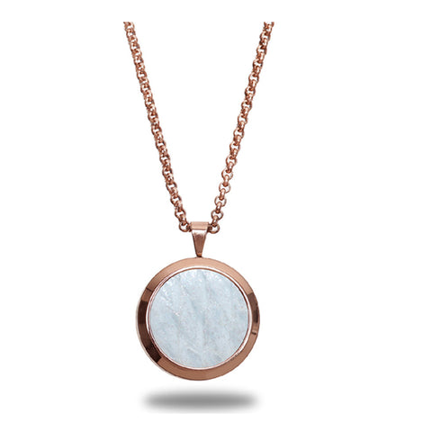 Atlantic Salmon Leather Pendant Rose Gold-Tone ▪ White