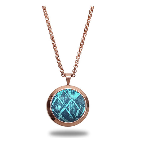 Atlantic Salmon Leather Pendant Rose Gold-Tone ▪ Blue/Blue Metallic