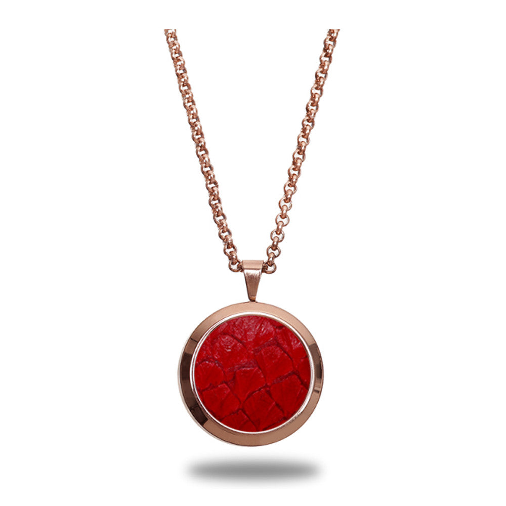 Atlantic Salmon Leather Pendant Rose Gold-Tone ▪ Red - Marlín Birna Ltd.