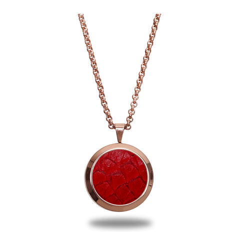 Atlantic Salmon Leather Pendant Rose Gold-Tone ▪ Red