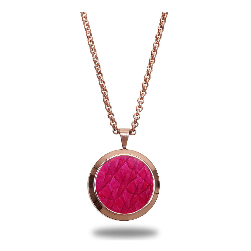 Atlantic Salmon Leather Pendant Rose Gold-Tone ▪ Fuchsia - Marlín Birna Ltd.